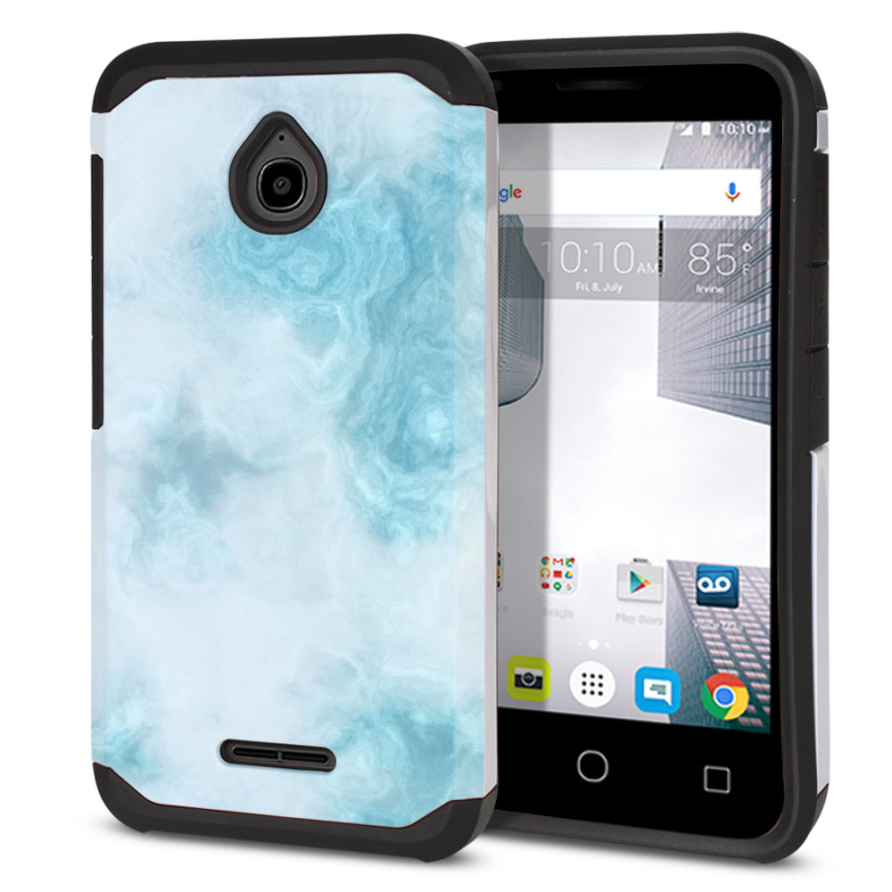 Alcatel Dawn 5027/ Acquire/ Streak/ Ideal 4060A Hybrid Slim Fusion Blue Cloudy Marble Protector Cover Case