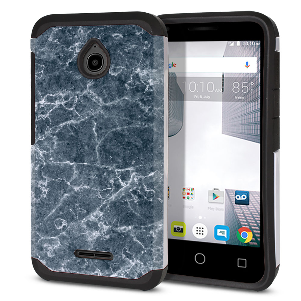Alcatel Dawn 5027/ Acquire/ Streak/ Ideal 4060A Hybrid Slim Fusion Blue Stone Marble Protector Cover Case