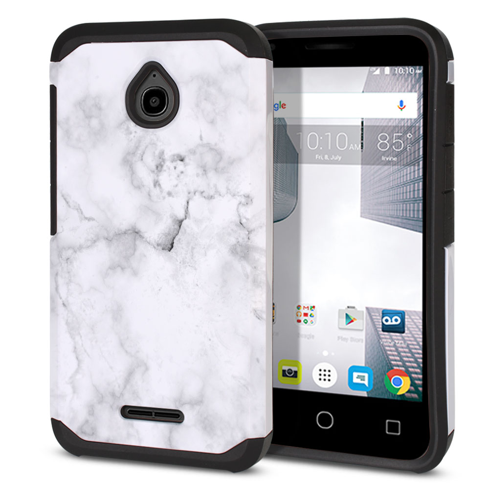 Alcatel Dawn 5027/ Acquire/ Streak/ Ideal 4060A Hybrid Slim Fusion Grey Cloudy Marble Protector Cover Case