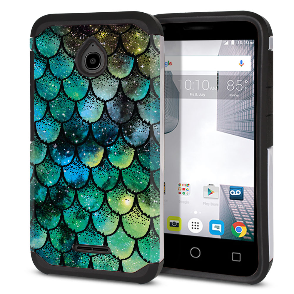 Alcatel Dawn 5027/ Acquire/ Streak/ Ideal 4060A Hybrid Slim Fusion Green Mermaid Scales Protector Cover Case