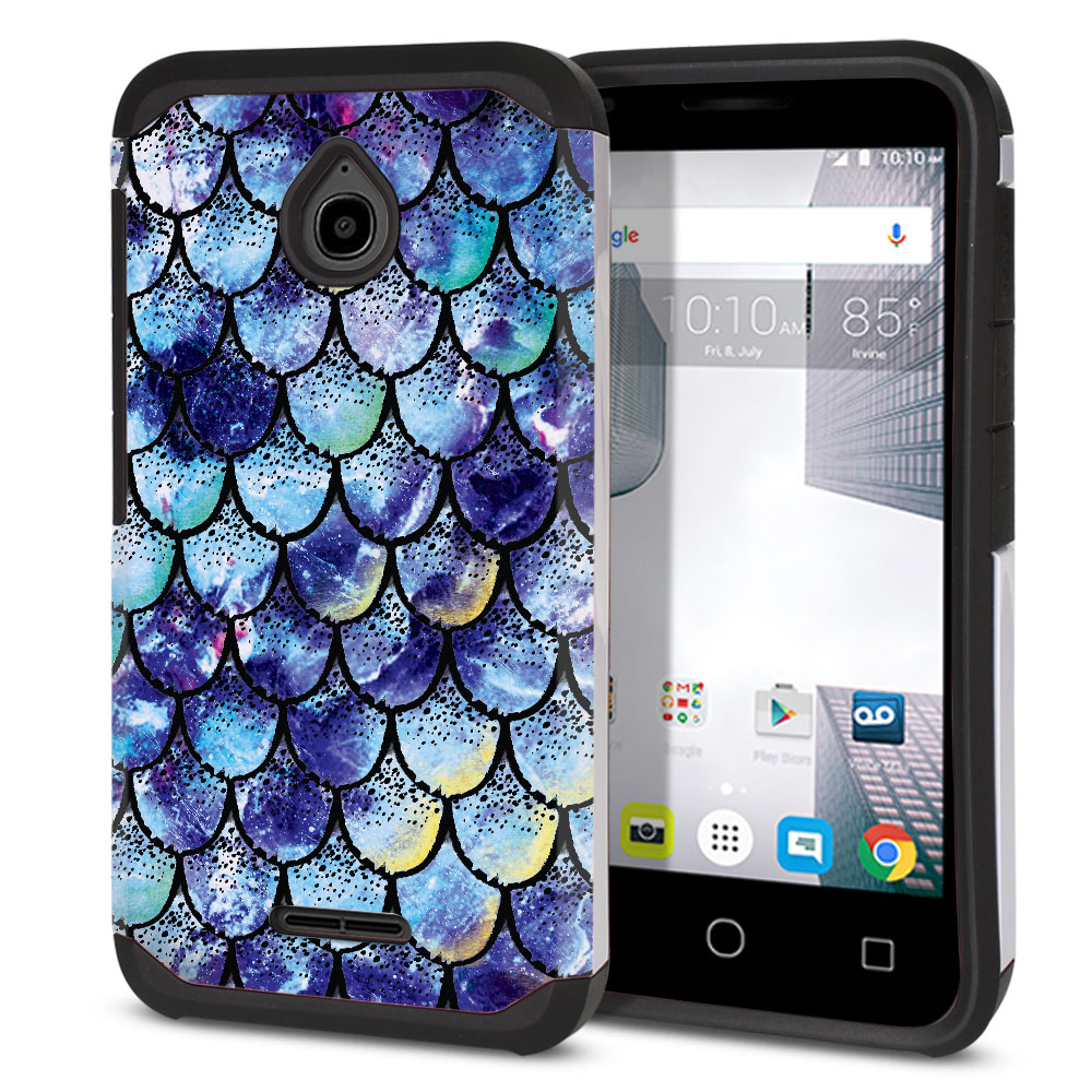 Alcatel Dawn 5027/ Acquire/ Streak/ Ideal 4060A Hybrid Slim Fusion Purple Mermaid Scales Protector Cover Case