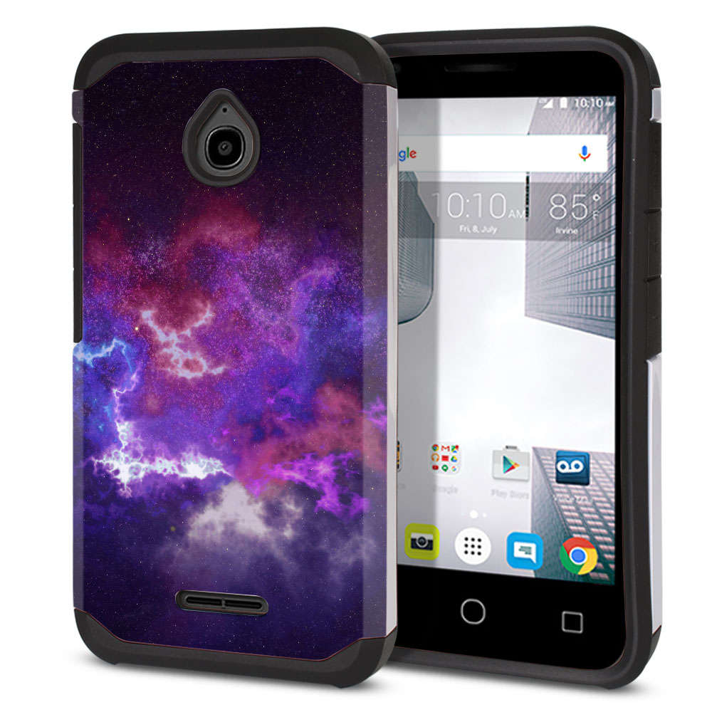 Alcatel Dawn 5027/ Acquire/ Streak/ Ideal 4060A Hybrid Slim Fusion Purple Nebula Space Protector Cover Case