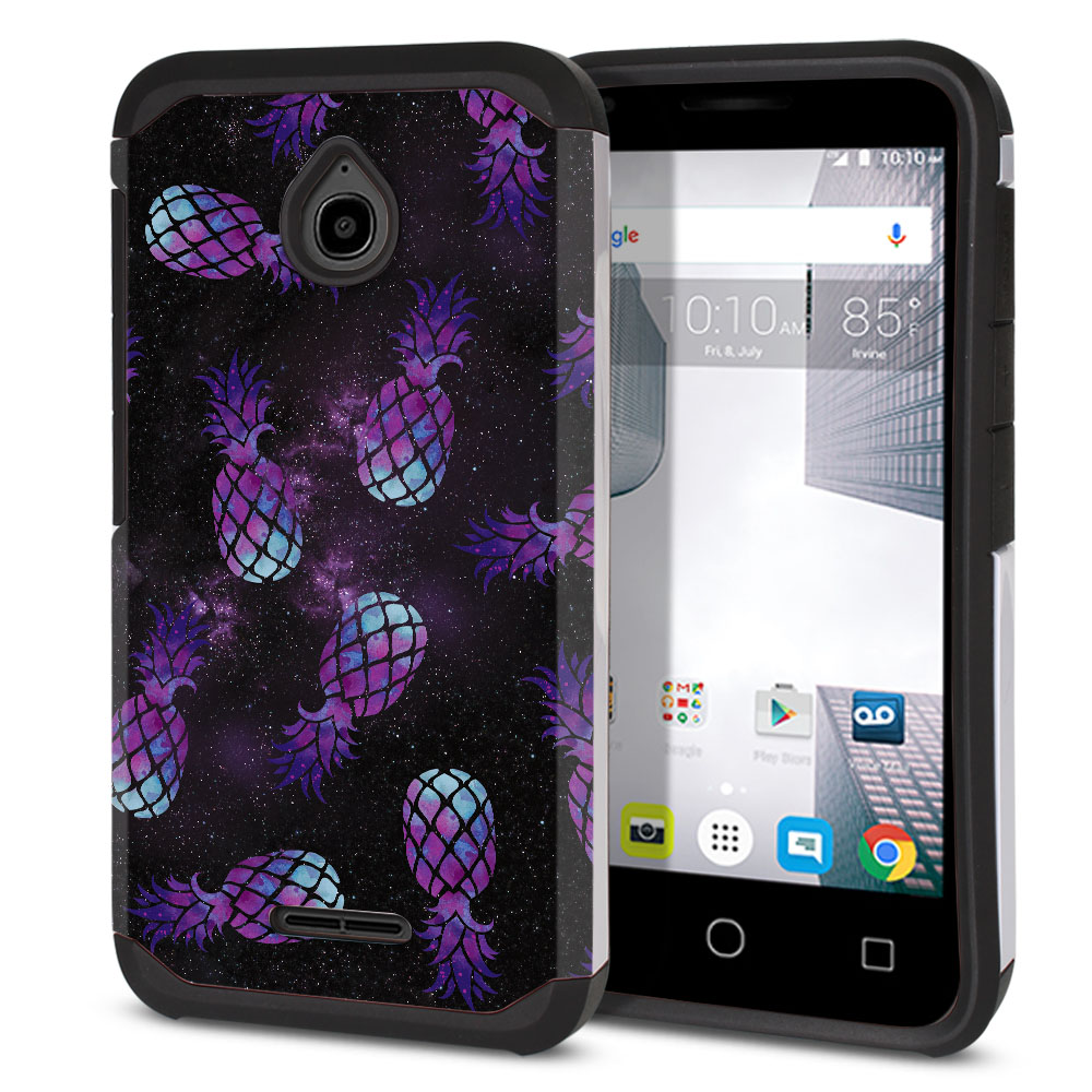 Alcatel Dawn 5027/ Acquire/ Streak/ Ideal 4060A Hybrid Slim Fusion Purple Pineapples Galaxy Protector Cover Case