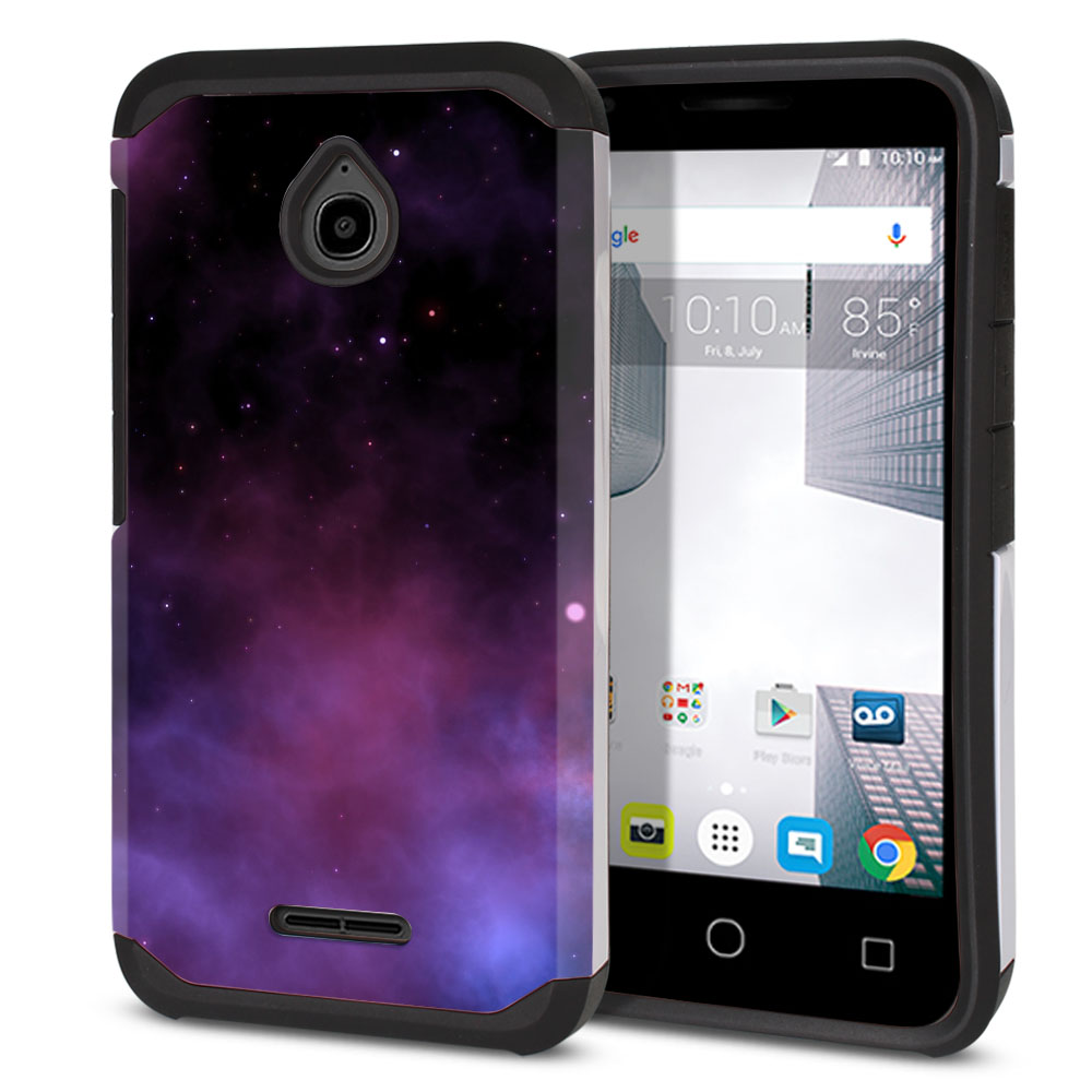 Alcatel Dawn 5027/ Acquire/ Streak/ Ideal 4060A Hybrid Slim Fusion Purple Space Stars Protector Cover Case
