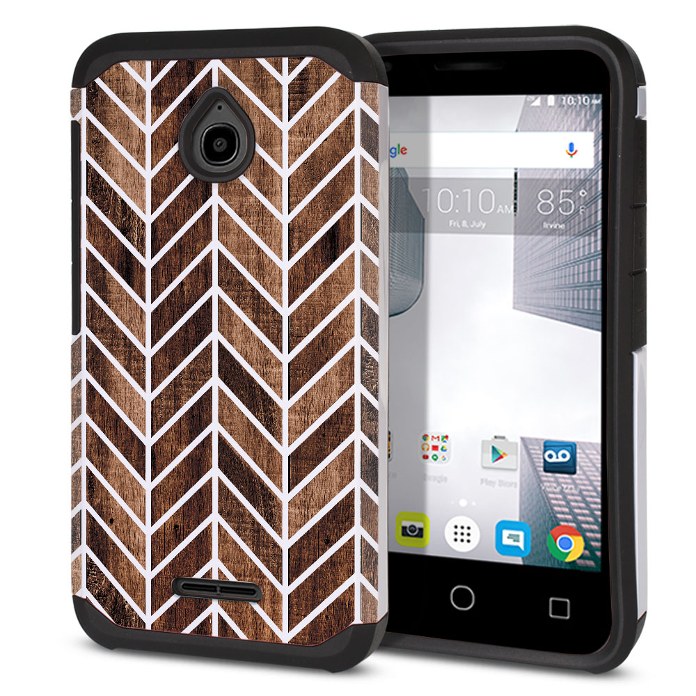 Alcatel Dawn 5027/ Acquire/ Streak/ Ideal 4060A Hybrid Slim Fusion Modern Chevron Wood Protector Cover Case