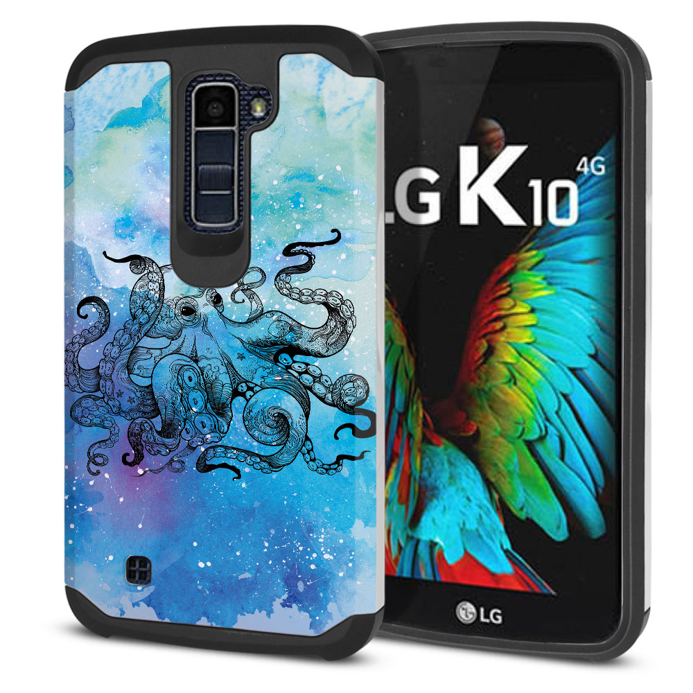 LG K10-LG Premier LTE L62VL L61AL K428 K430 K420 K420N Hybrid Slim Fusion Blue Water Octopus Protector Cover Case