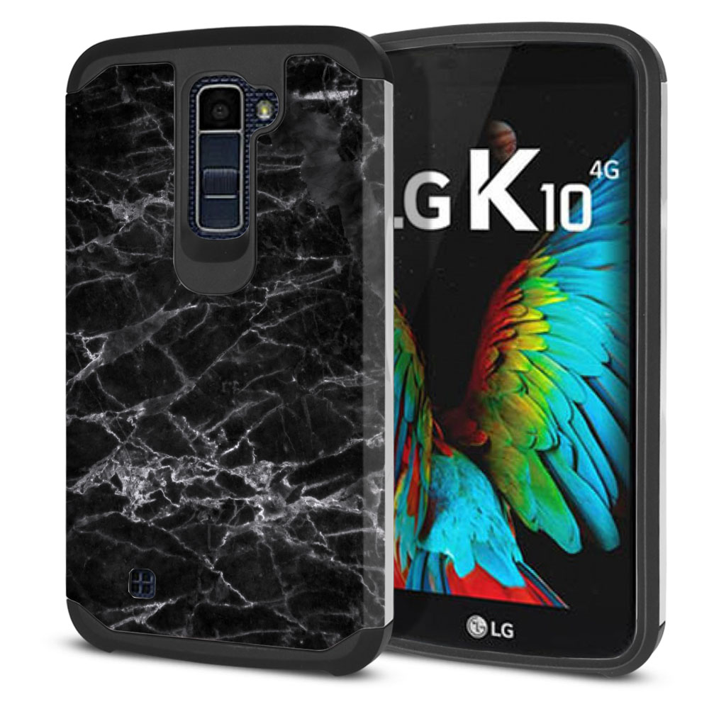 LG K10-LG Premier LTE L62VL L61AL K428 K430 K420 K420N Hybrid Slim Fusion Black Stone Marble Protector Cover Case
