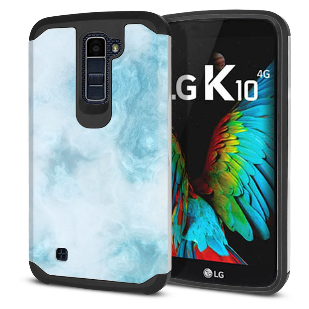 LG K10-LG Premier LTE L62VL L61AL K428 K430 K420 K420N Hybrid Slim Fusion Blue Cloudy Marble Protector Cover Case