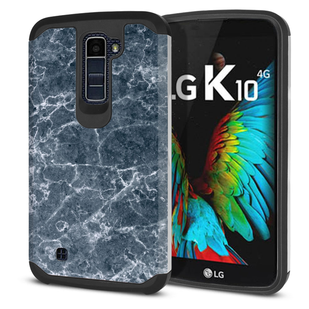 LG K10-LG Premier LTE L62VL L61AL K428 K430 K420 K420N Hybrid Slim Fusion Blue Stone Marble Protector Cover Case