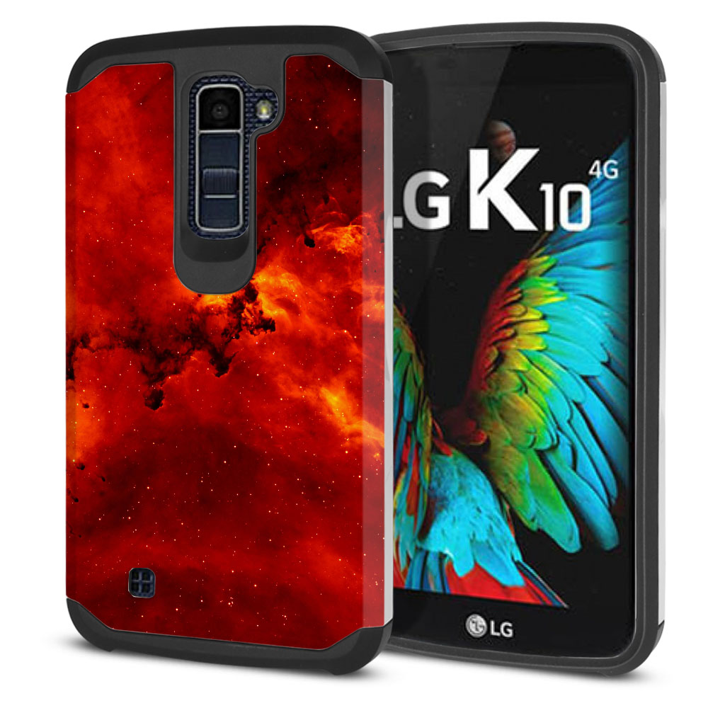 LG K10-LG Premier LTE L62VL L61AL K428 K430 K420 K420N Hybrid Slim Fusion Fiery Galaxy Protector Cover Case