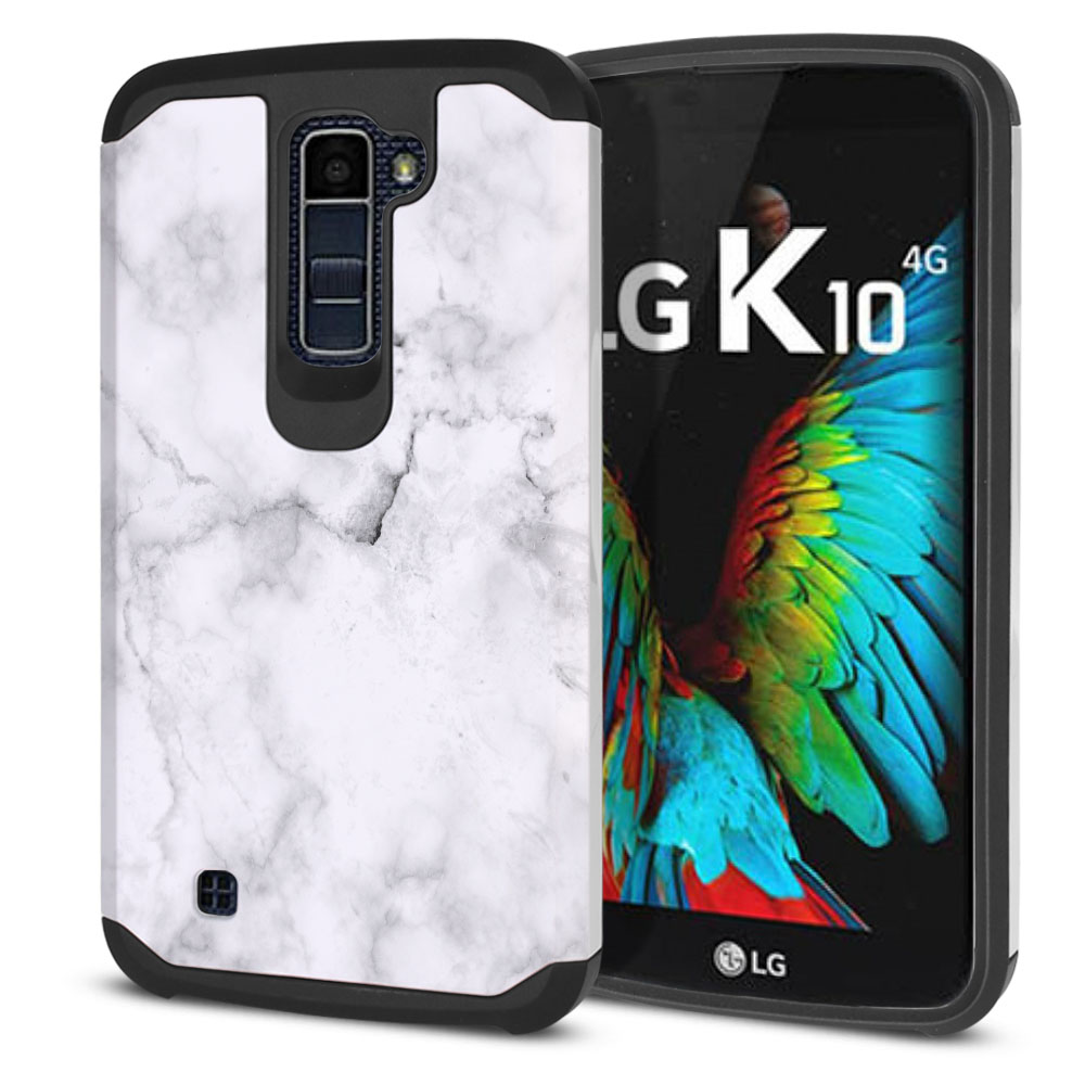 LG K10-LG Premier LTE L62VL L61AL K428 K430 K420 K420N Hybrid Slim Fusion Grey Cloudy Marble Protector Cover Case