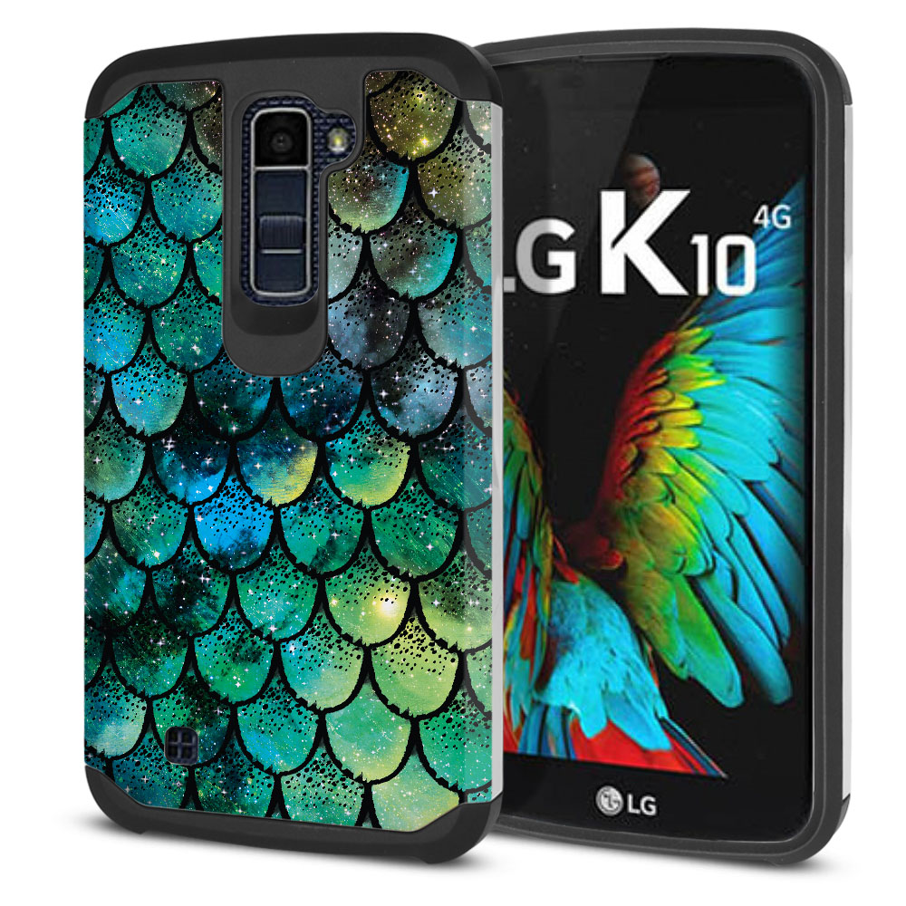 LG K10-LG Premier LTE L62VL L61AL K428 K430 K420 K420N Hybrid Slim Fusion Green Mermaid Scales Protector Cover Case