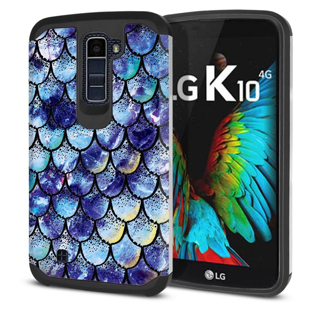 LG K10-LG Premier LTE L62VL L61AL K428 K430 K420 K420N Hybrid Slim Fusion Purple Mermaid Scales Protector Cover Case