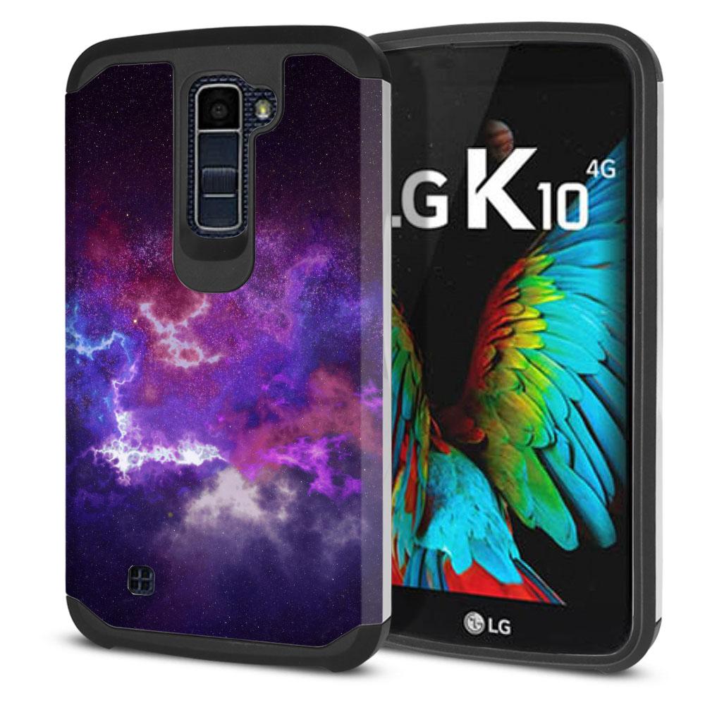 LG K10-LG Premier LTE L62VL L61AL K428 K430 K420 K420N Hybrid Slim Fusion Purple Nebula Space Protector Cover Case