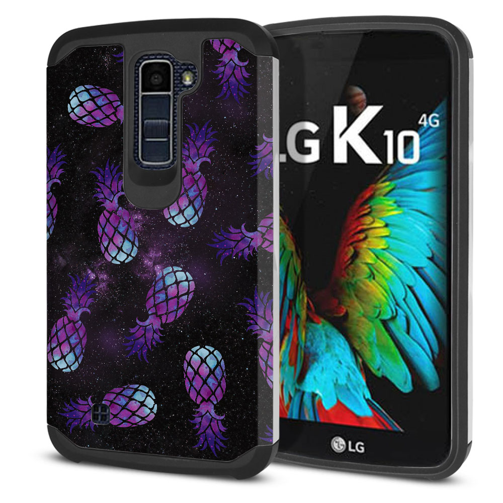 LG K10-LG Premier LTE L62VL L61AL K428 K430 K420 K420N Hybrid Slim Fusion Purple Pineapples Galaxy Protector Cover Case