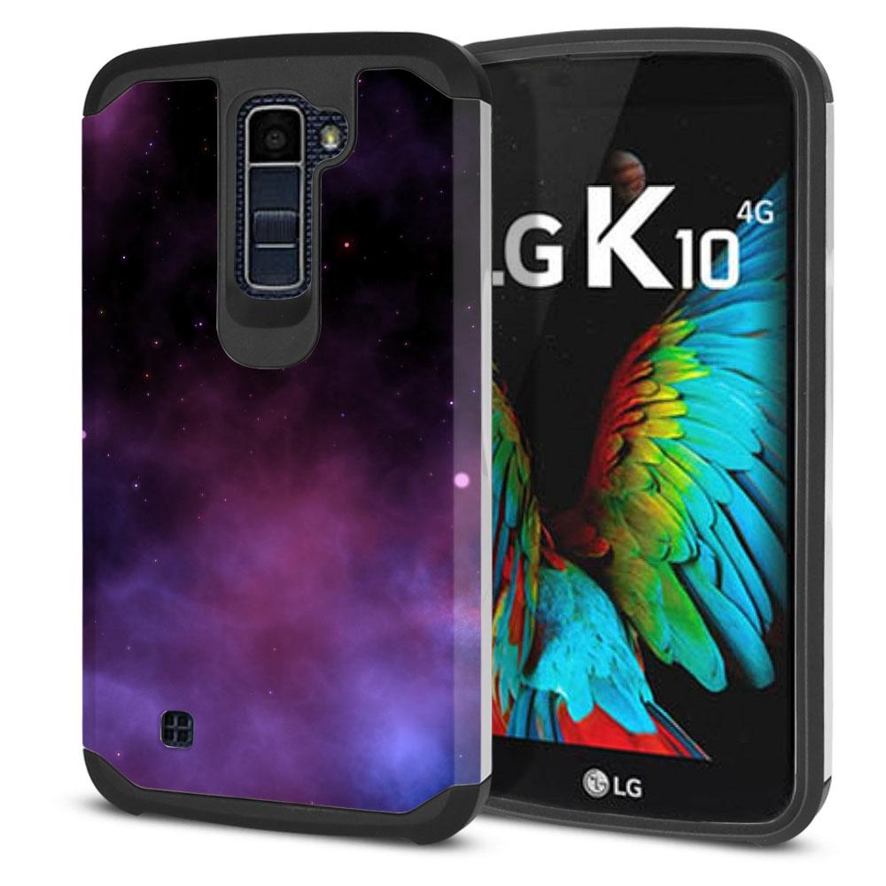 LG K10-LG Premier LTE L62VL L61AL K428 K430 K420 K420N Hybrid Slim Fusion Purple Space Stars Protector Cover Case