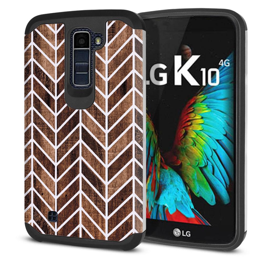 LG K10-LG Premier LTE L62VL L61AL K428 K430 K420 K420N Hybrid Slim Fusion Wood Chevron Protector Cover Case