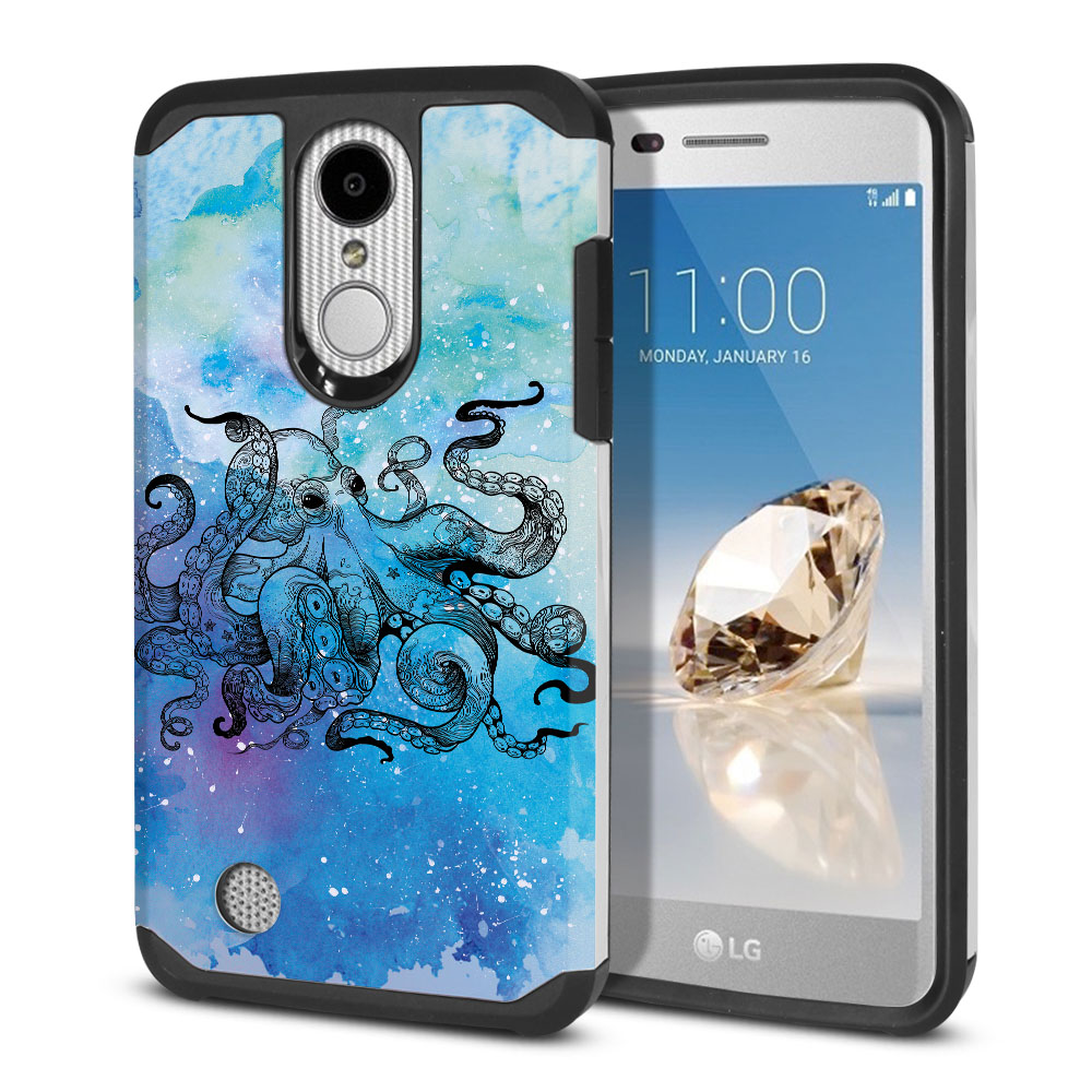 LG Aristo MS210 LV3-LG K8 (2017)-LG Phoenix 3 M150-LG Fortune Hybrid Slim Fusion Blue Water Octopus Protector Cover Case