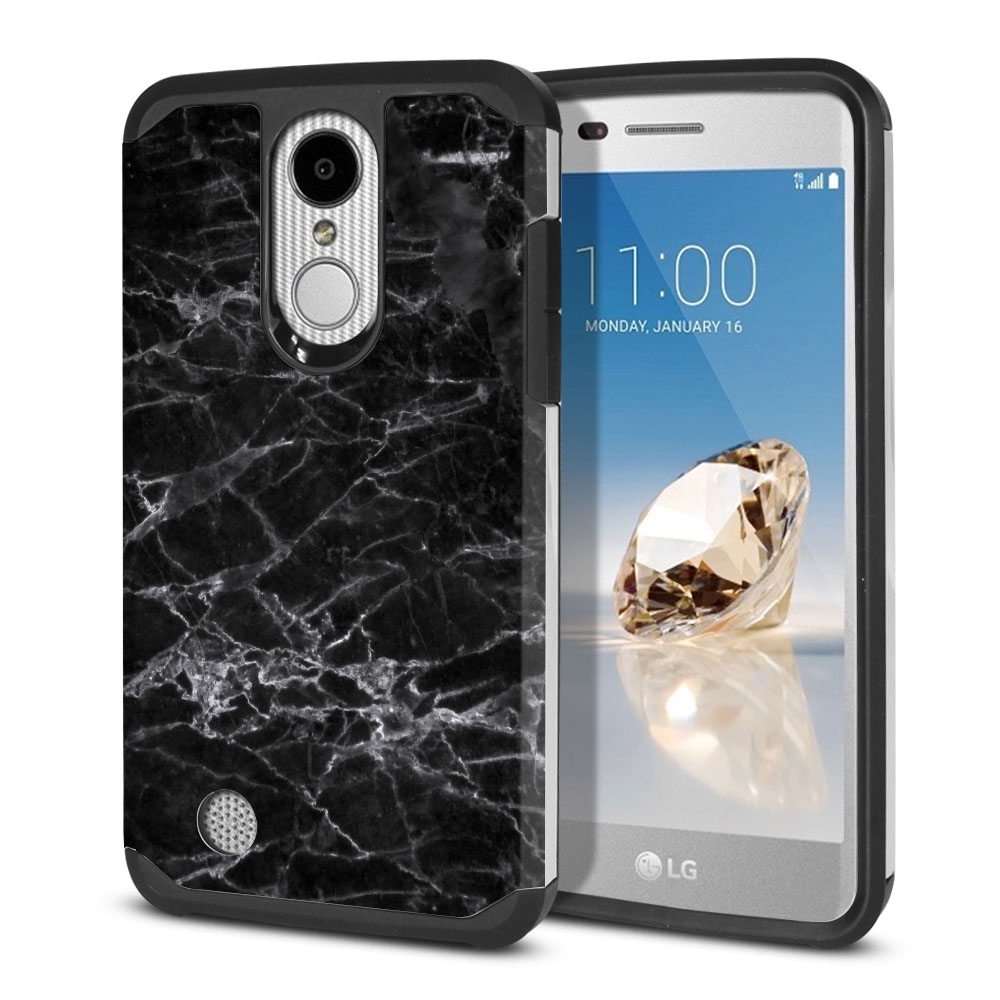 LG Aristo MS210 LV3-LG K8 (2017)-LG Phoenix 3 M150-LG Fortune Hybrid Slim Fusion Black Stone Marble Protector Cover Case