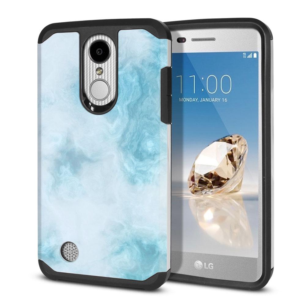 LG Aristo MS210 LV3-LG K8 (2017)-LG Phoenix 3 M150-LG Fortune Hybrid Slim Fusion Blue Cloudy Marble Protector Cover Case