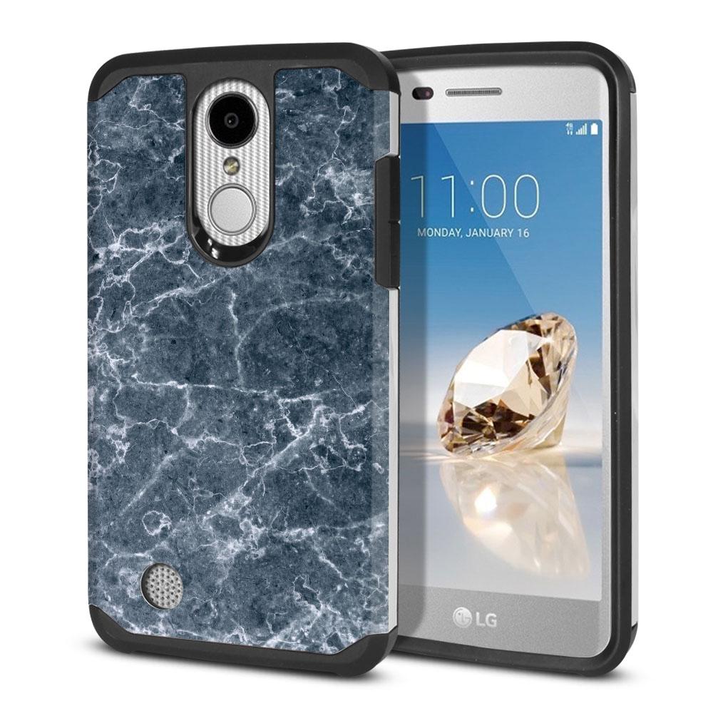 LG Aristo MS210 LV3-LG K8 (2017)-LG Phoenix 3 M150-LG Fortune Hybrid Slim Fusion Blue Stone Marble Protector Cover Case