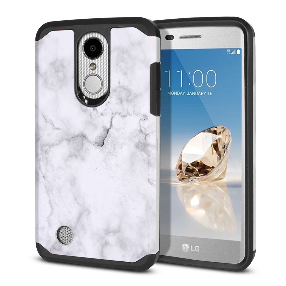 LG Aristo MS210 LV3-LG K8 (2017)-LG Phoenix 3 M150-LG Fortune Hybrid Slim Fusion Grey Cloudy Marble Protector Cover Case