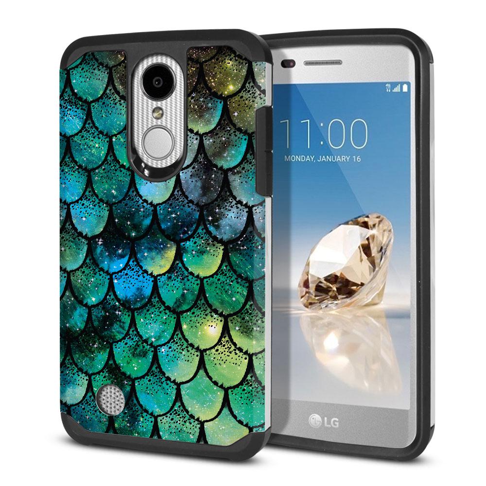 LG Aristo MS210 LV3-LG K8 (2017)-LG Phoenix 3 M150-LG Fortune Hybrid Slim Fusion Green Mermaid Scales Protector Cover Case