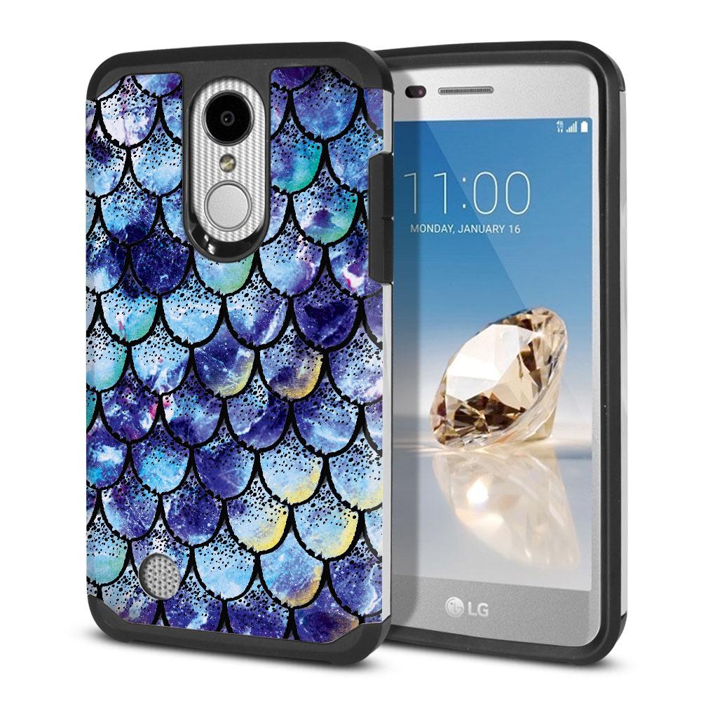 LG Aristo MS210 LV3-LG K8 (2017)-LG Phoenix 3 M150-LG Fortune Hybrid Slim Fusion Purple Mermaid Scales Protector Cover Case