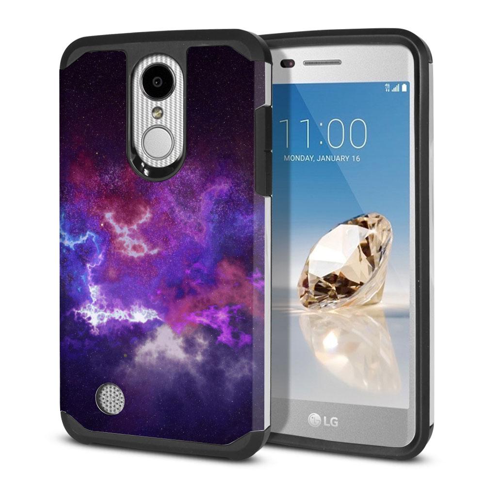 LG Aristo MS210 LV3-LG K8 (2017)-LG Phoenix 3 M150-LG Fortune Hybrid Slim Fusion Purple Nebula Space Protector Cover Case