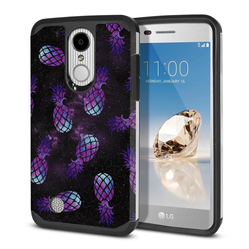LG Aristo MS210 LV3-LG K8 (2017)-LG Phoenix 3 M150-LG Fortune Hybrid Slim Fusion Purple Pineapples Galaxy Protector Cover Case
