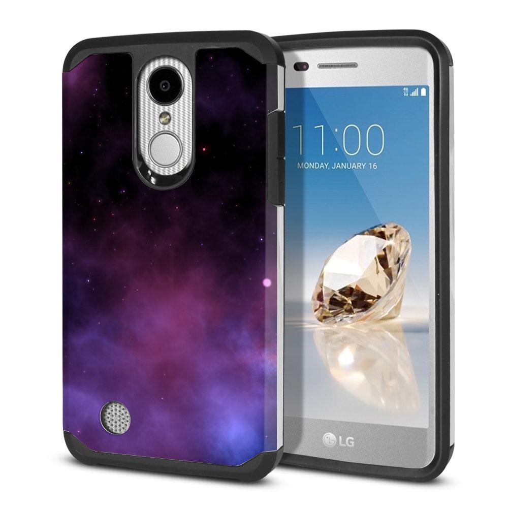LG Aristo MS210 LV3-LG K8 (2017)-LG Phoenix 3 M150-LG Fortune Hybrid Slim Fusion Purple Space Stars Protector Cover Case