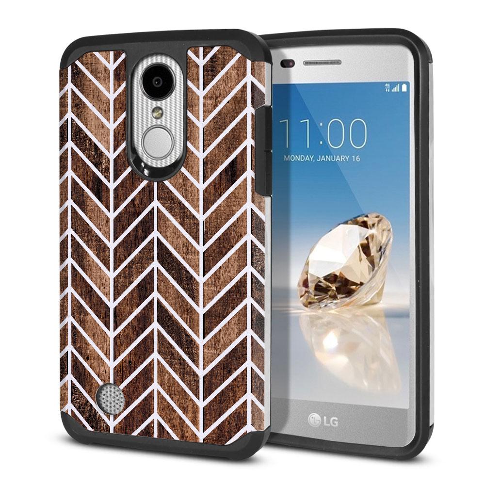 LG Aristo MS210 LV3-LG K8 (2017)-LG Phoenix 3 M150-LG Fortune Hybrid Slim Fusion Wood Chevron Protector Cover Case