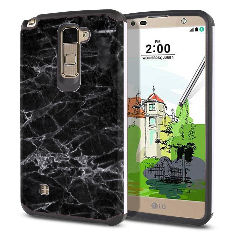 LG Stylus 2 Plus Stylo 2 Plus MS550 K550 K530 K535 Hybrid Slim Fusion Black Stone Marble Protector Cover Case