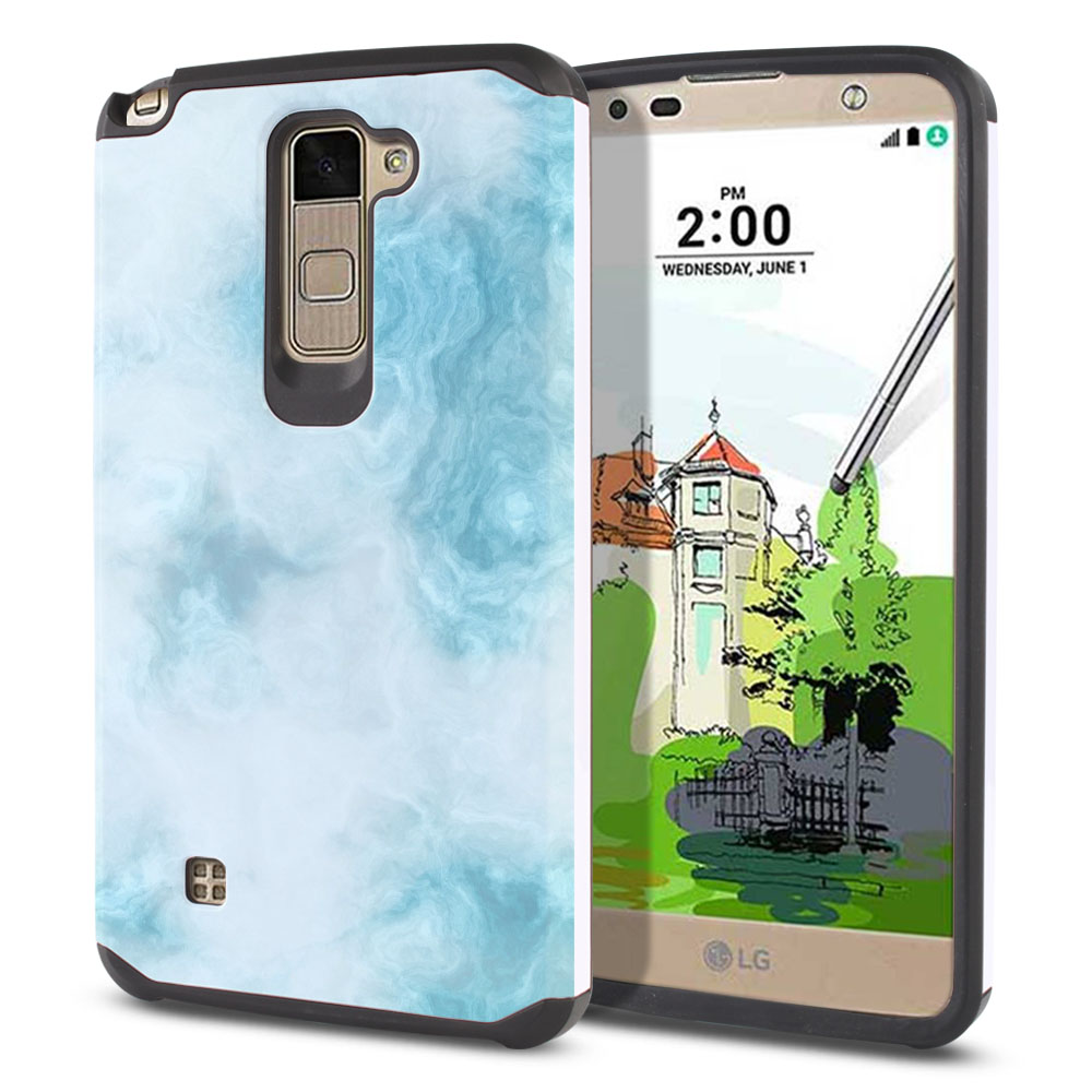 LG Stylus 2 Plus Stylo 2 Plus MS550 K550 K530 K535 Hybrid Slim Fusion Blue Cloudy Marble Protector Cover Case
