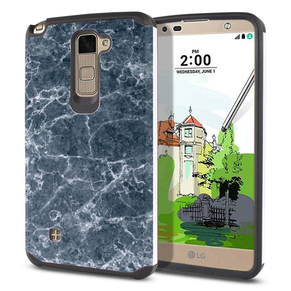 LG Stylus 2 Plus Stylo 2 Plus MS550 K550 K530 K535 Hybrid Slim Fusion Blue Stone Marble Protector Cover Case
