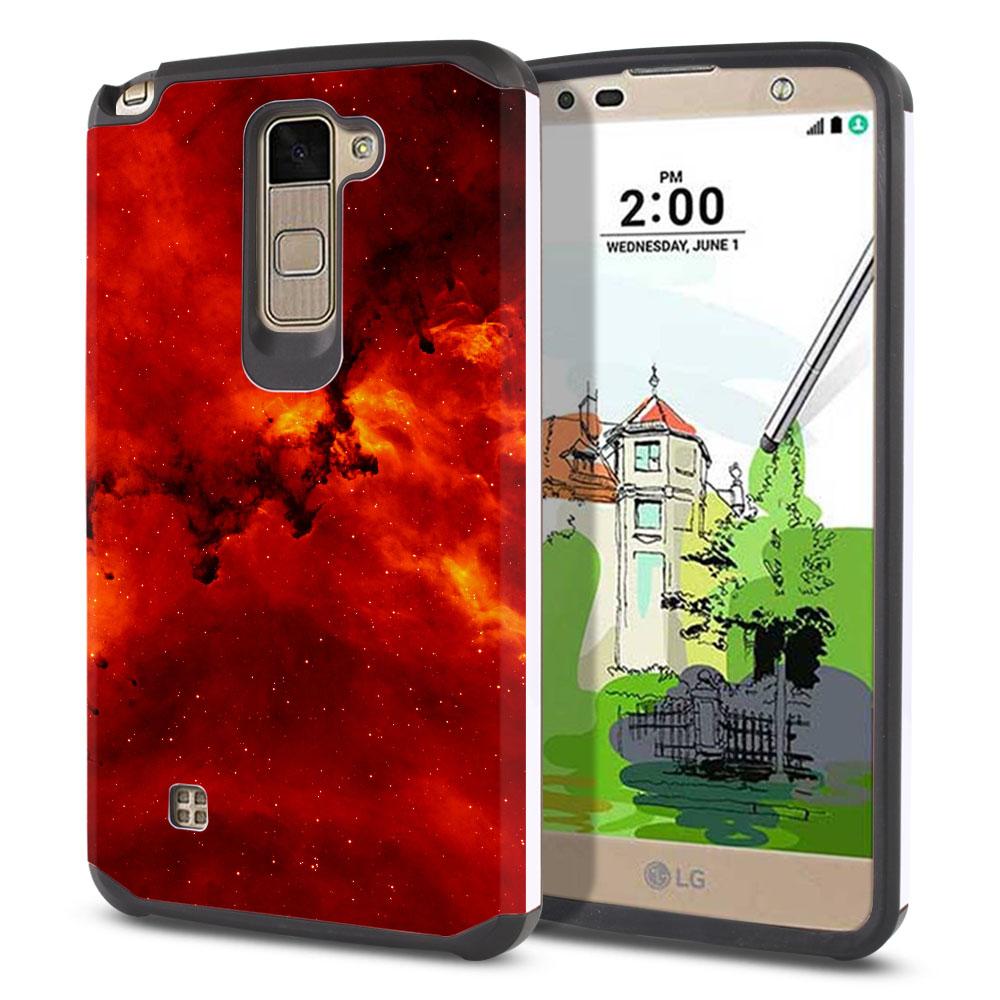 LG Stylus 2 Plus Stylo 2 Plus MS550 K550 K530 K535 Hybrid Slim Fusion Fiery Galaxy Protector Cover Case