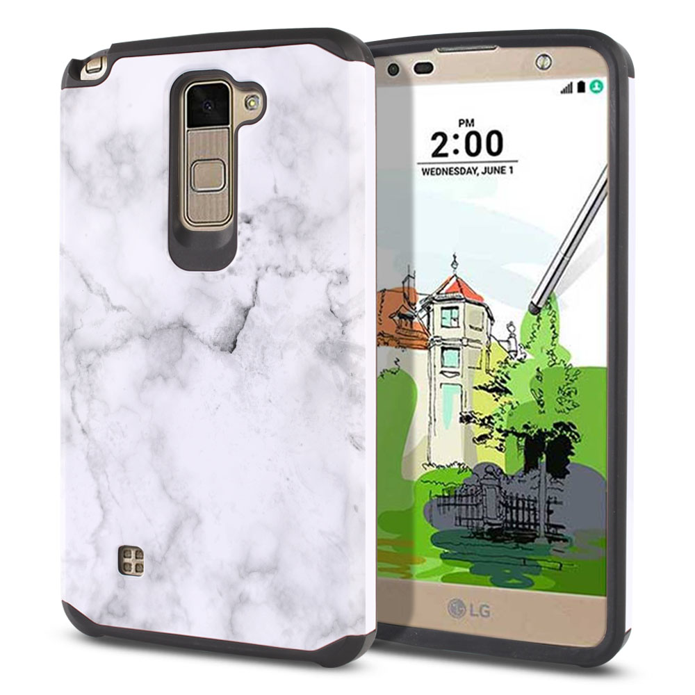 LG Stylus 2 Plus Stylo 2 Plus MS550 K550 K530 K535 Hybrid Slim Fusion Grey Cloudy Marble Protector Cover Case