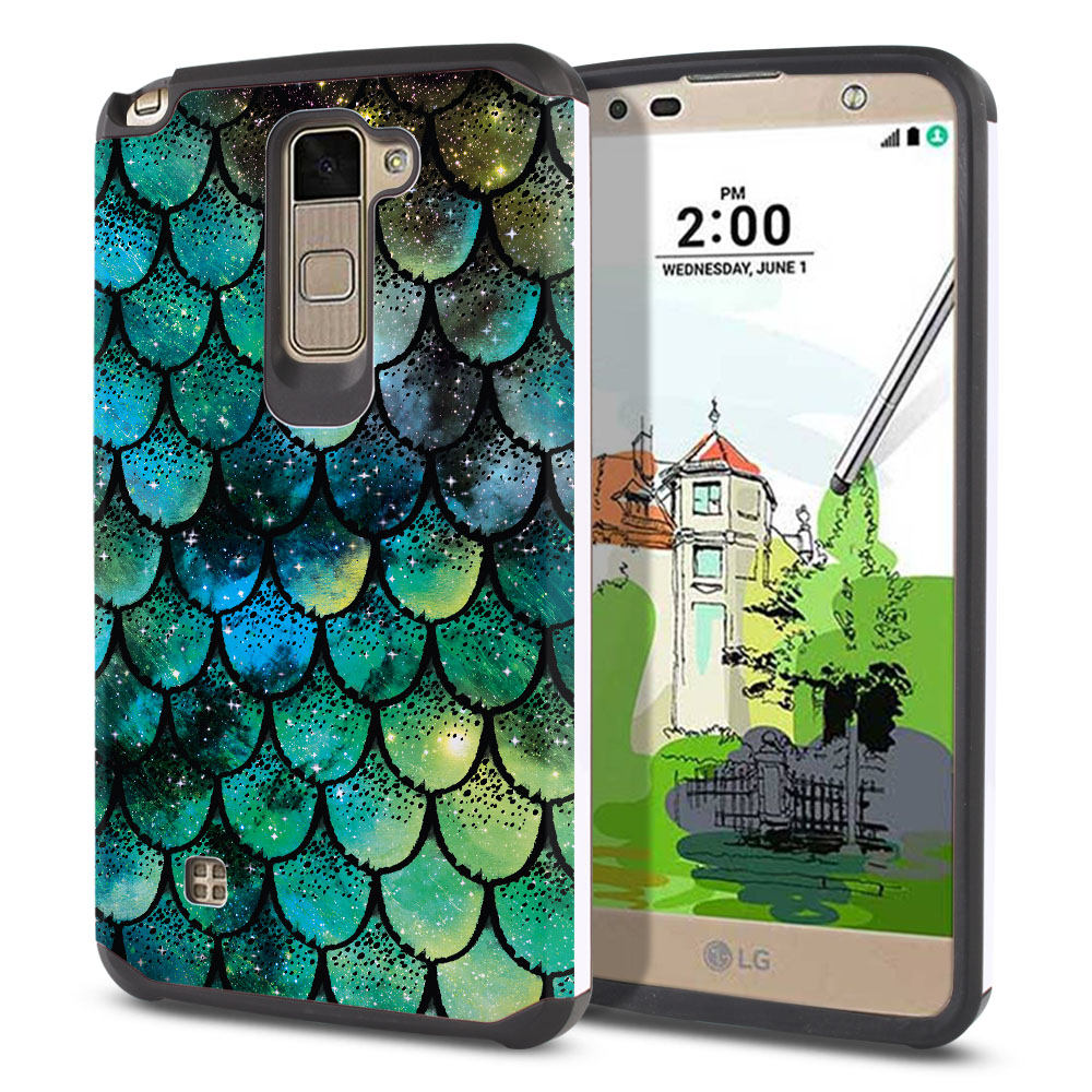 LG Stylus 2 Plus Stylo 2 Plus MS550 K550 K530 K535 Hybrid Slim Fusion Green Mermaid Scales Protector Cover Case