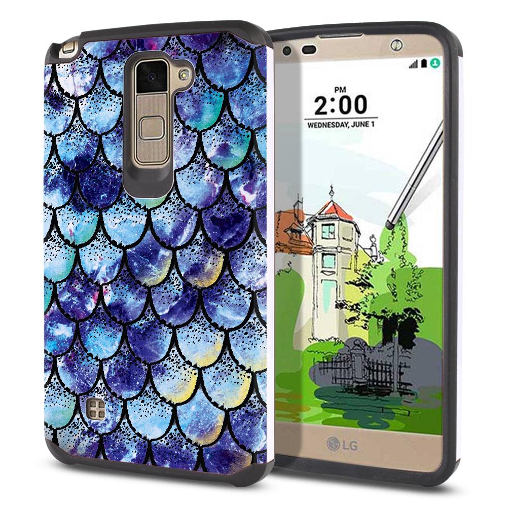 LG Stylus 2 Plus Stylo 2 Plus MS550 K550 K530 K535 Hybrid Slim Fusion Purple Mermaid Scales Protector Cover Case