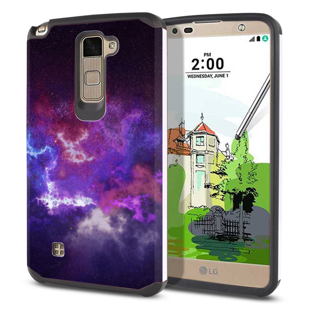 LG Stylus 2 Plus Stylo 2 Plus MS550 K550 K530 K535 Hybrid Slim Fusion Purple Nebula Space Protector Cover Case