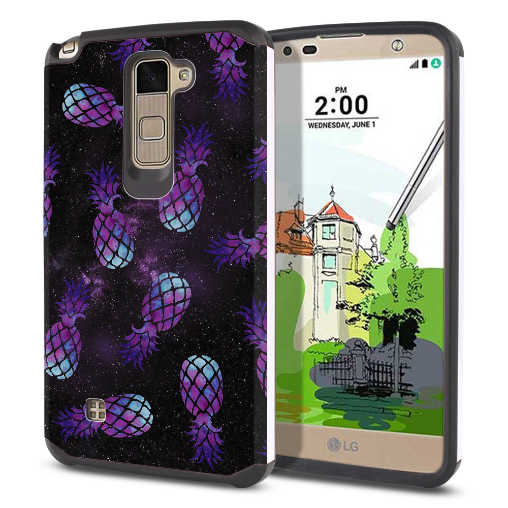 LG Stylus 2 Plus Stylo 2 Plus MS550 K550 K530 K535 Hybrid Slim Fusion Purple Pineapples Galaxy Protector Cover Case