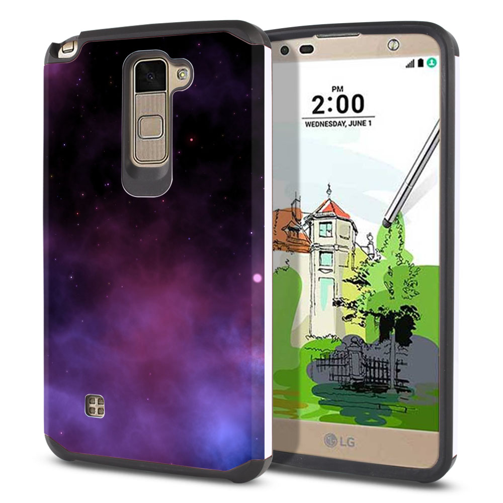 LG Stylus 2 Plus Stylo 2 Plus MS550 K550 K530 K535 Hybrid Slim Fusion Purple Space Stars Protector Cover Case