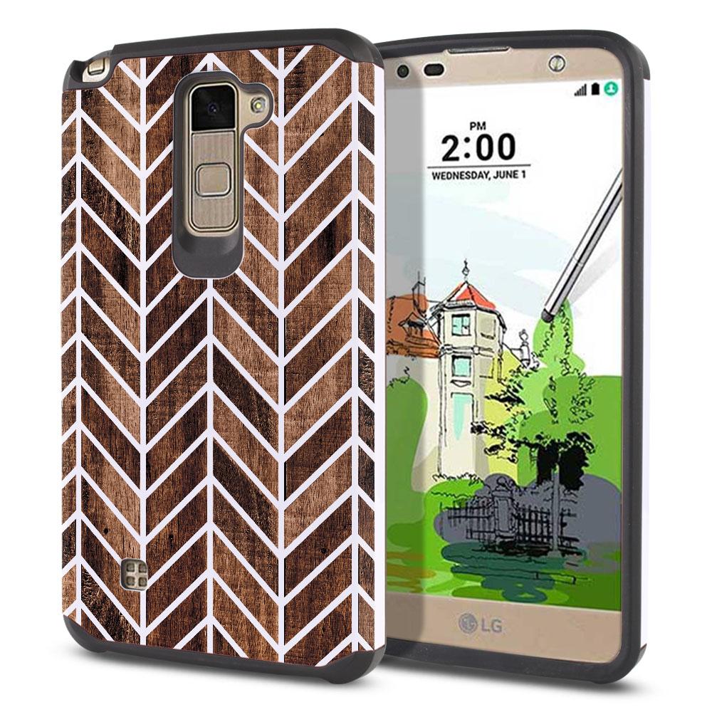 LG Stylus 2 Plus Stylo 2 Plus MS550 K550 K530 K535 Hybrid Slim Fusion Modern Chevron Wood Protector Cover Case