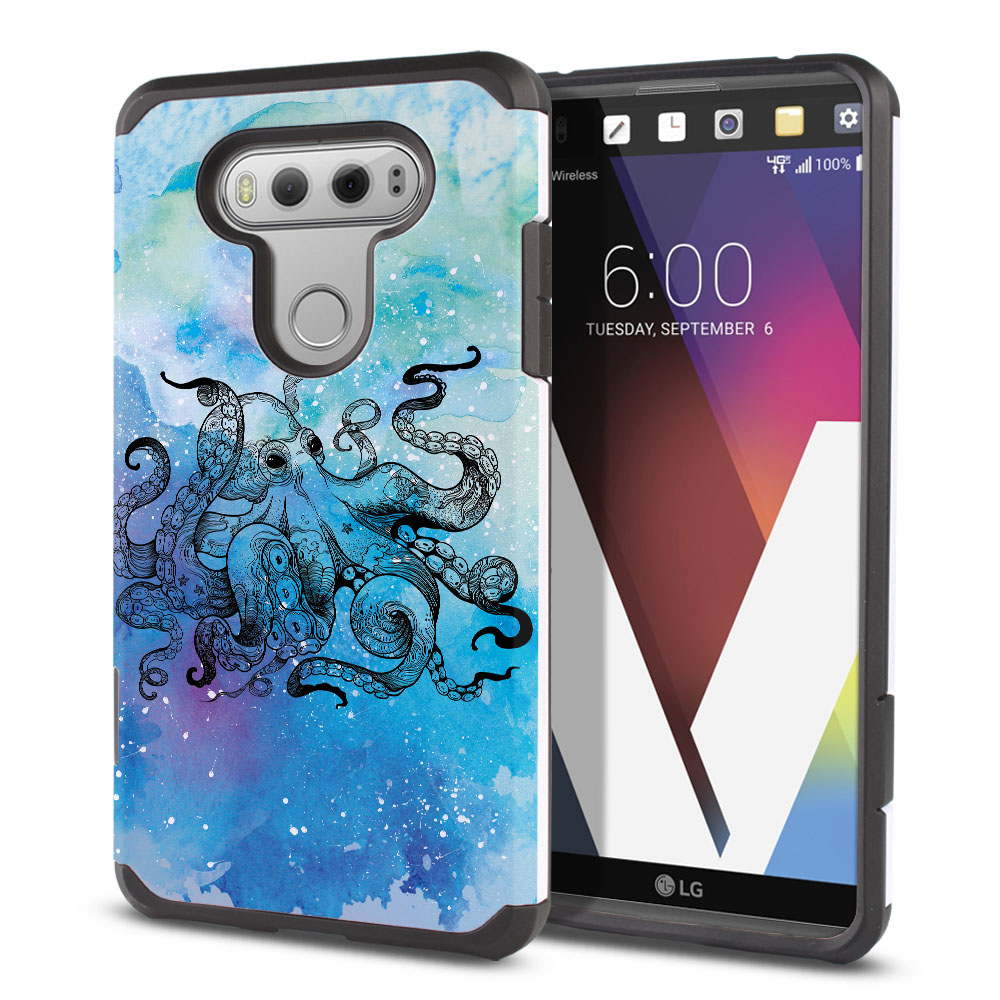 LG V20-LG VS995 H990 LS997 H910 H918 US996 Hybrid Slim Fusion Blue Water Octopus Protector Cover Case