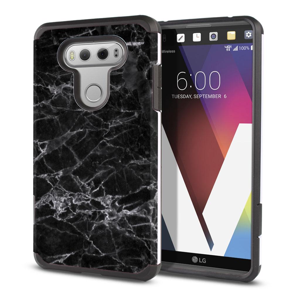 LG V20-LG VS995 H990 LS997 H910 H918 US996 Hybrid Slim Fusion Black Stone Marble Protector Cover Case