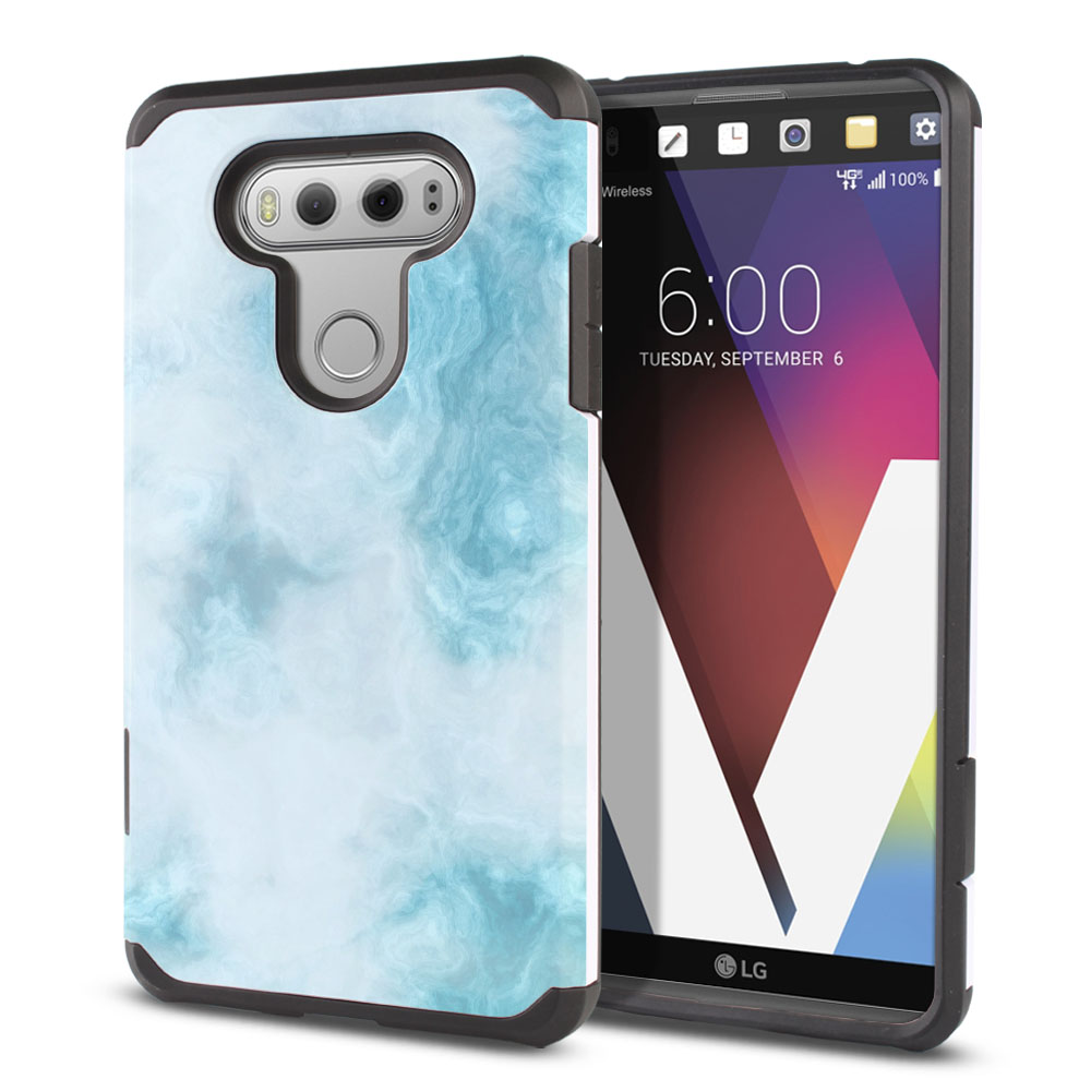 LG V20-LG VS995 H990 LS997 H910 H918 US996 Hybrid Slim Fusion Blue Cloudy Marble Protector Cover Case