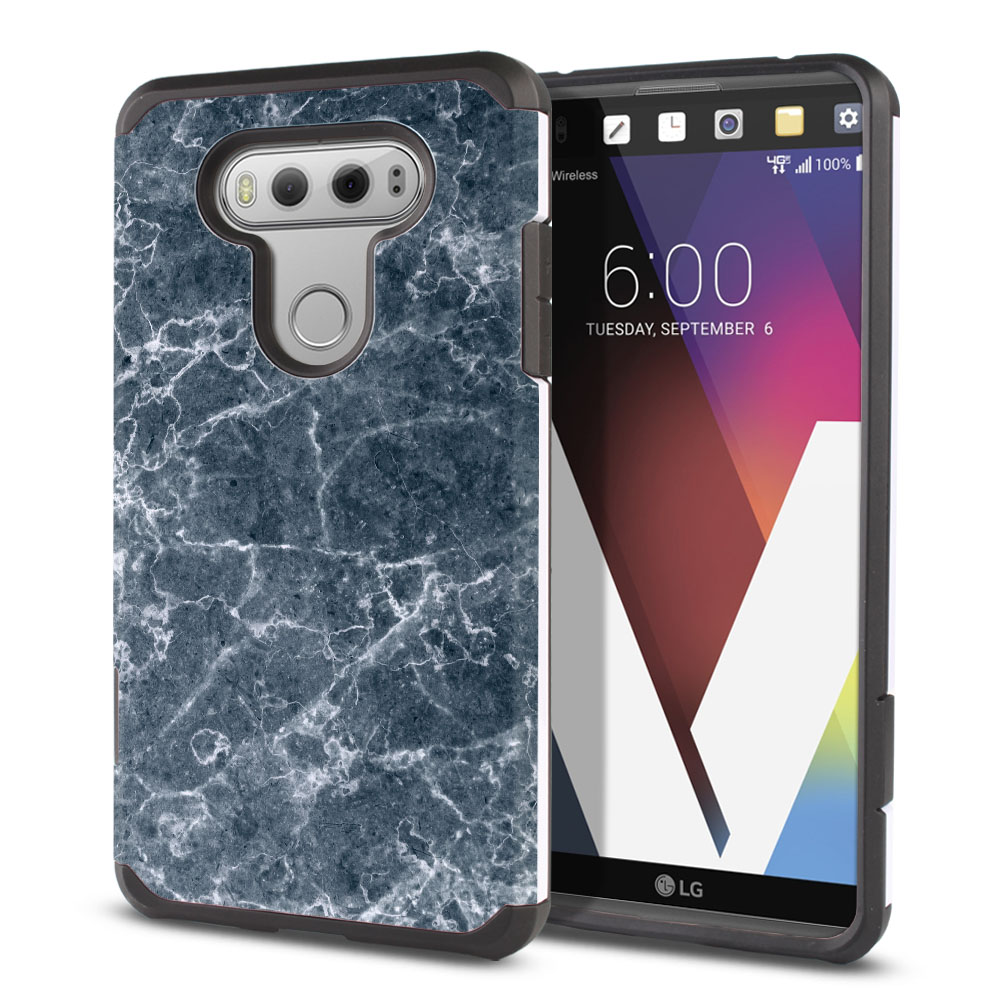 LG V20-LG VS995 H990 LS997 H910 H918 US996 Hybrid Slim Fusion Blue Stone Marble Protector Cover Case