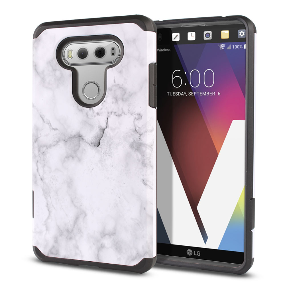 LG V20-LG VS995 H990 LS997 H910 H918 US996 Hybrid Slim Fusion Grey Cloudy Marble Protector Cover Case