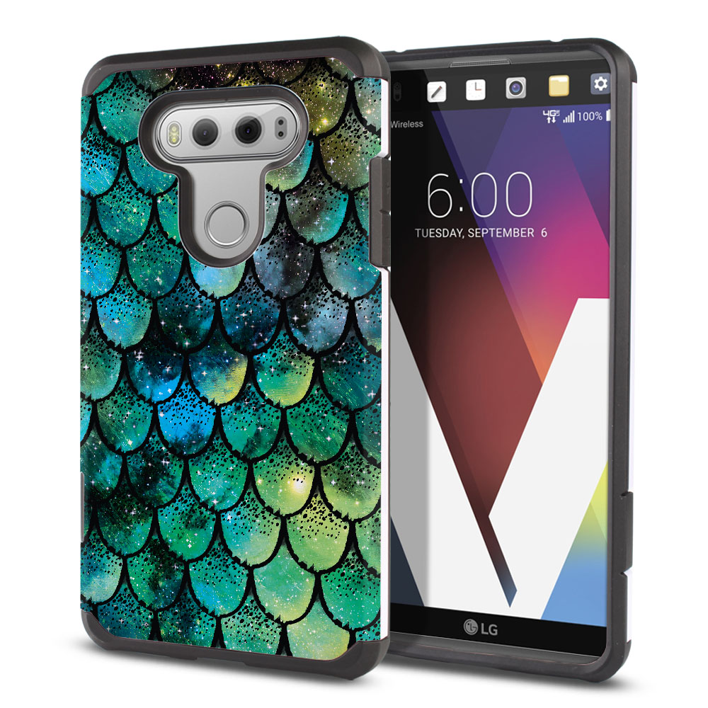 LG V20-LG VS995 H990 LS997 H910 H918 US996 Hybrid Slim Fusion Green Mermaid Scales Protector Cover Case