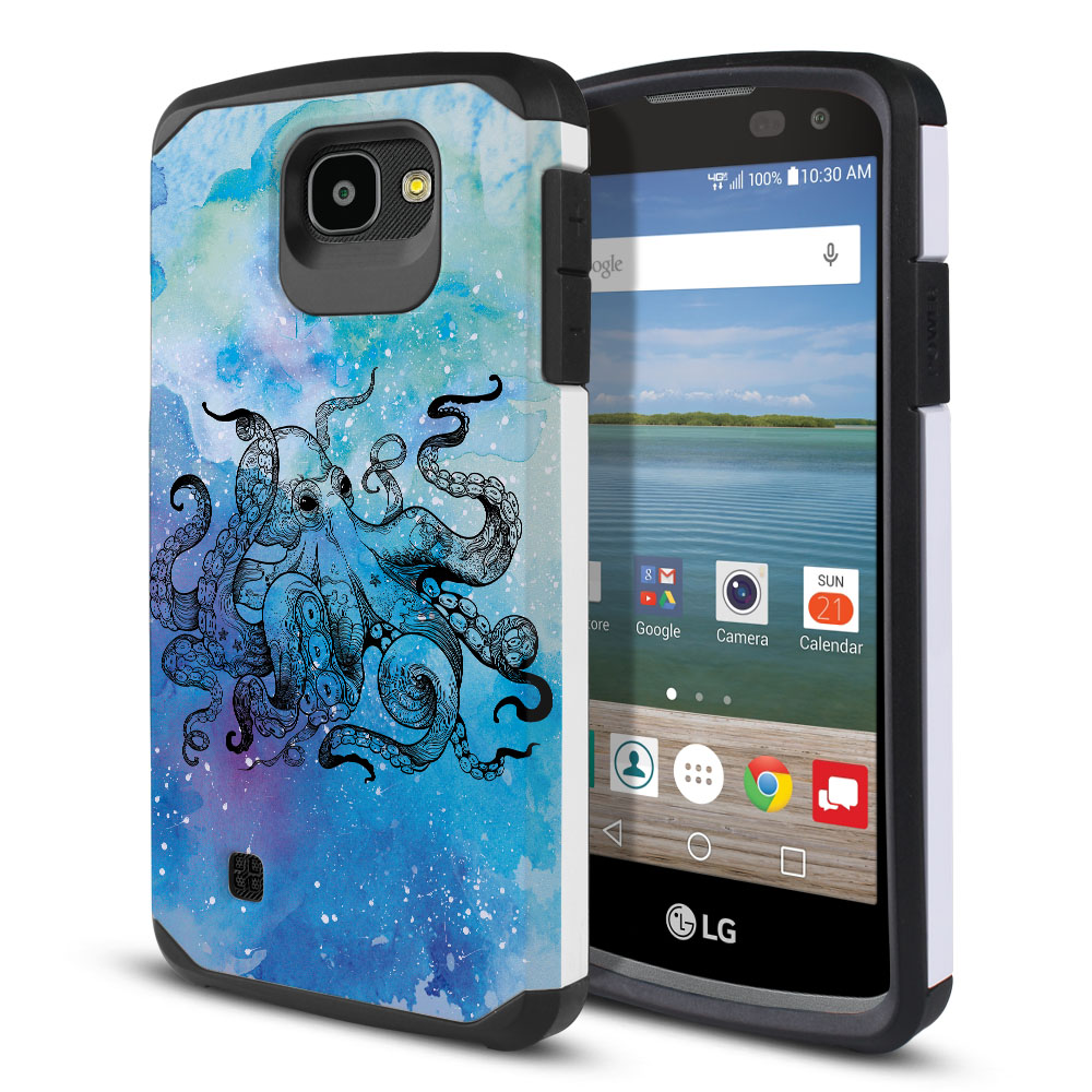 LG Optimus Zone 3 VS425PP-LG Spree K120-LG K4-LG 4G L44VL L43AL Hybrid Slim Fusion Blue Water Octopus Protector Cover Case